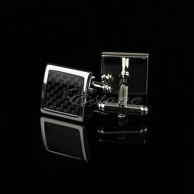 Stainless Steel Silver Vintage Men's Wedding Gift Classical Grid Cuff Links