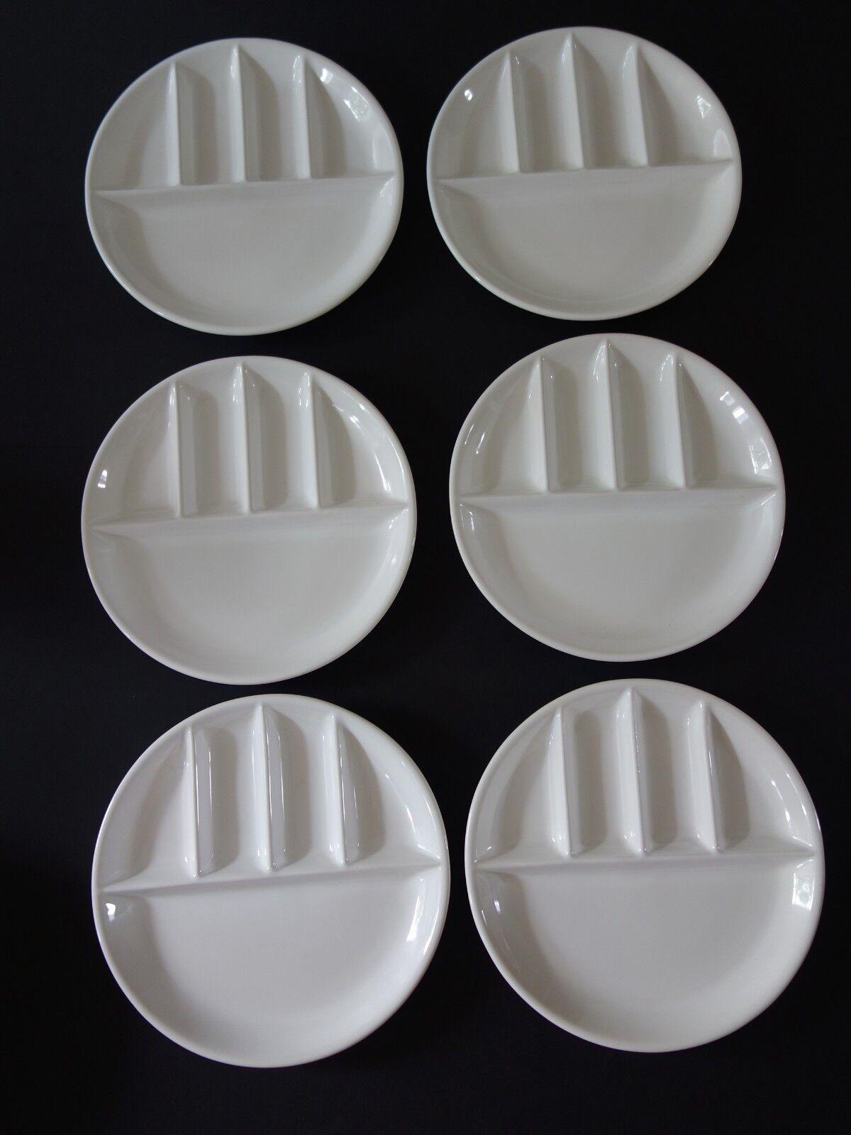 6 STAUB France FONDUETELLER Teller Raclette Antipasti Keramik weiß VINTAGE top     Sonderangebot