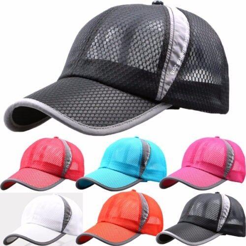 cd8361ab7ae Mens Womens Mesh Curved Visor Baseball Cap Tennis Golf Sports Snapback Sun  Hat 아이템 넘버  282744136046.