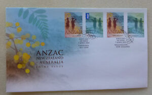 2015-NEW-ZEALAND-AUSTRALIA-JOINT-ISSUE-SET-4-STAMPS-ANZAC-FDC-FIRST-DAY-COVER