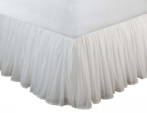 Twin White Greenland Home Cotton Voile Bedskirt
