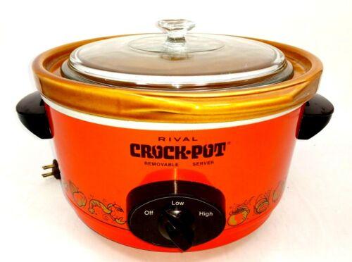 Retro Orange Rival 5 Qt Crock Pot - Vintage Slow Cooker, Model 3350/2, Glass Lid