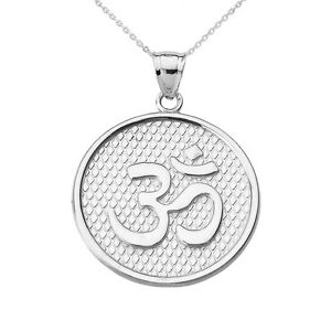 14k Yellow Gold Om//Ohm Key Crown Pendant Necklace Yoga and Meditation