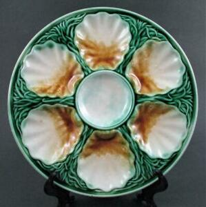 "ANTIQUE OYSTER PLATE MAJOLLICA  /""SALINS/"" FRANCE CIRCA 1880"