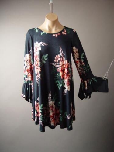 Floral Flounce Bell Sleeve Wiccan Romantic Goth Tunic Mini 266 mv Dress S M L XL