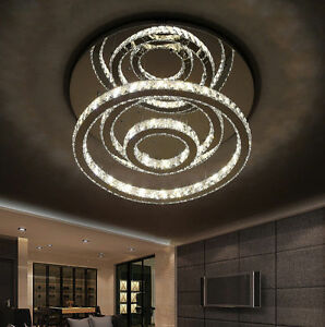 194520a451 Classic LED Round Ring K9 Clear Crystal Ceiling Lights Pendant Lamp ...