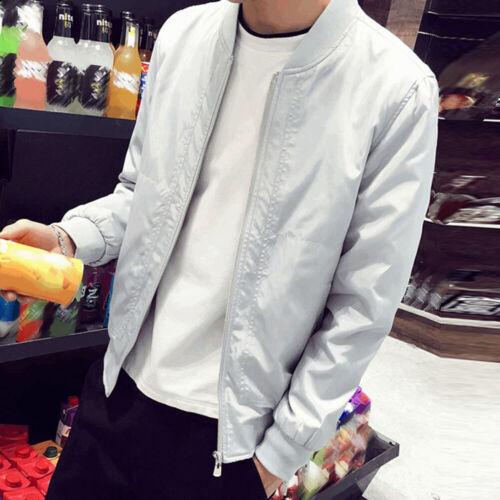Men/'s Casual Coat Bomber Slim Fit Baseball Outwear Zipper Stand Collar Jacket