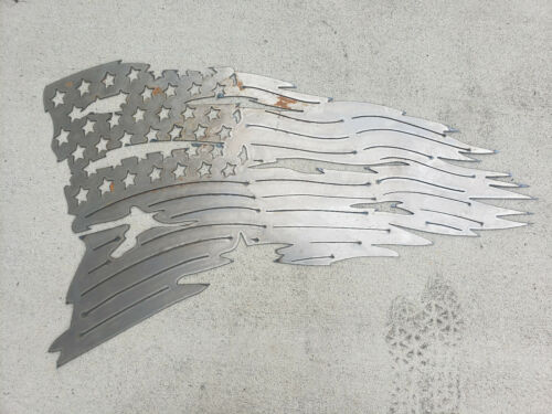 Tattered American Flag Blank DIY Metal Art