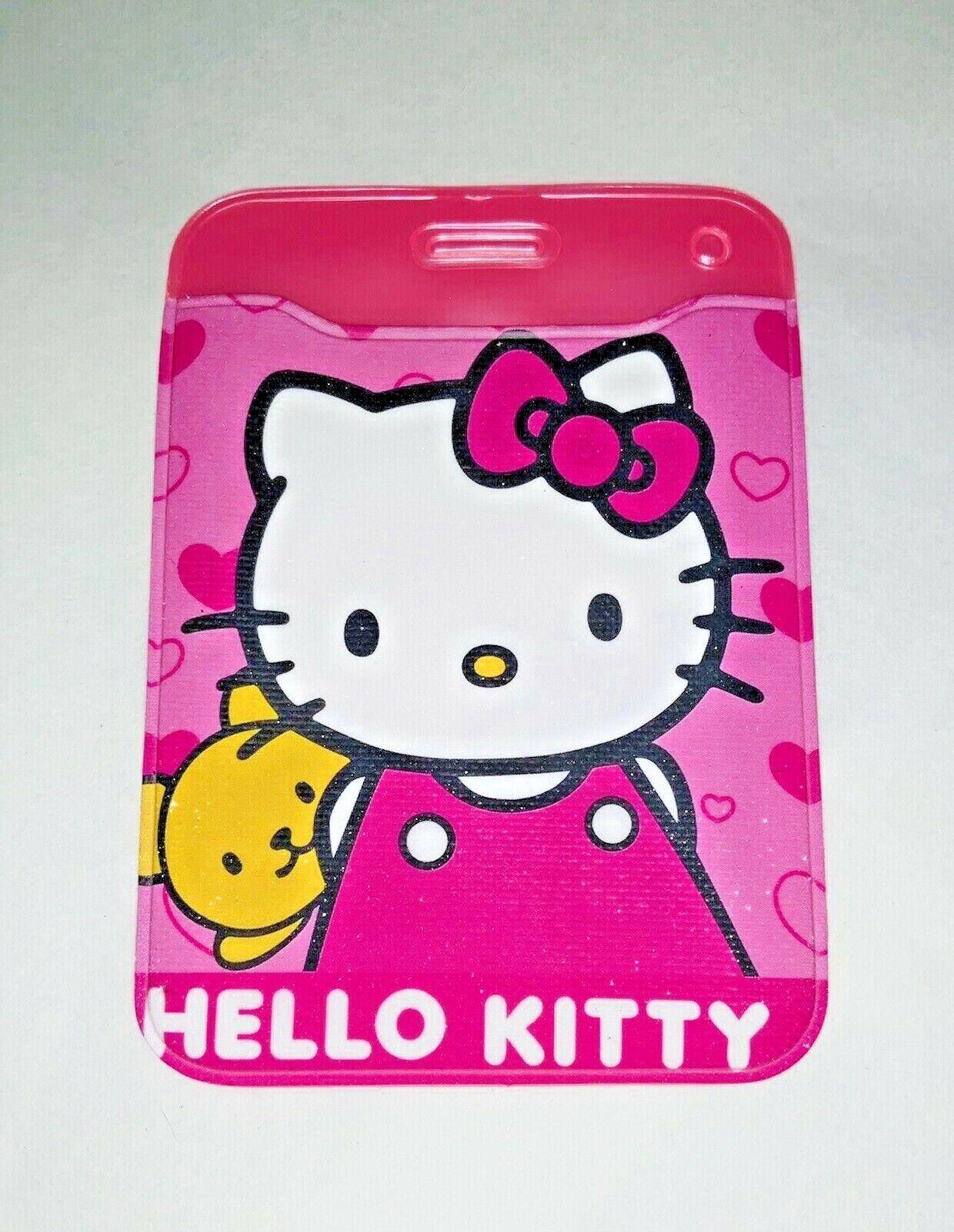 Linda Rosa Hello Kitty ID Card Badge pase de plástico titular una media relleno