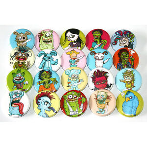 Creepy-Zombie-Cartoon-Characters-x-20-Badges-Buttons-Wholesale-Lot-32mm-1-25-034