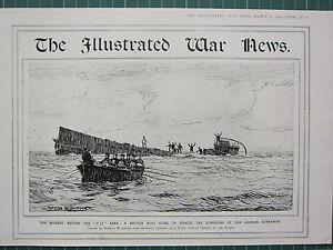 1915 Première Guerre Mondiale G.mondiale 1 Imprimé ~ Britannique Boat à Rescue Afz24c0j-08001950-129471249