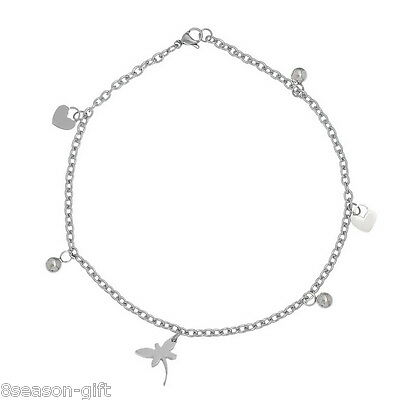 1PC Stainless Steel Bracelet With Butterfly Heart Charms Silver Tone 21cm