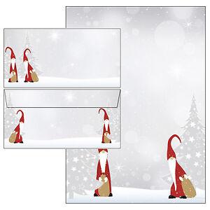 Motivpapier Briefpapier Weihnachten Wichtel grau rot 100 Blatt A4 Christmas xmas