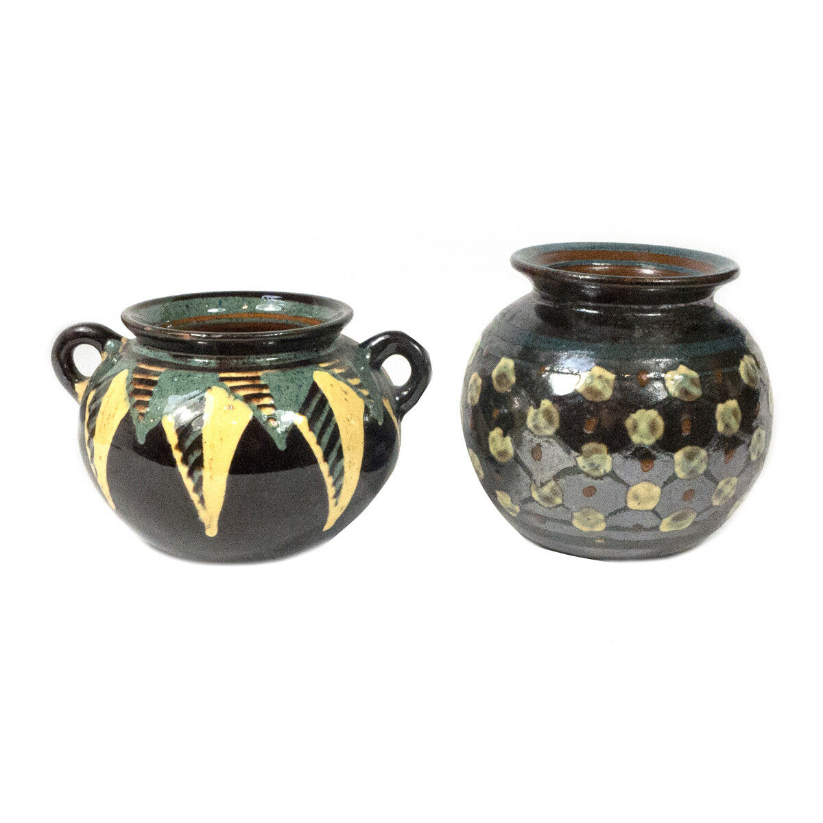 basso prezzo del 40% LOT LOT LOT OF 2 VINTAGE FIRMATO Exotic DISEGNO Redware ceramica Caraffe   VASI 3.60  online economico