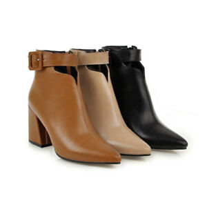 Womens-Ankle-Buckle-Boots-Pointed-Toe-Block-High-Heel-Leather-Side-Zip-Booties