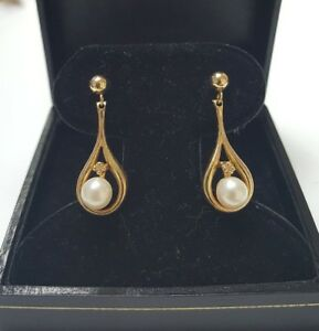 Details About 14k Solid Yellow Gold Pearl Diamond Long Dangle Hanging Earrings