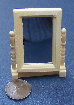 1:12 Scale Natural Finish Swivel Mirror Dolls House Miniature Accessory 110
