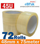New Arrival 45U 72 Rolls Clear Packing Packaging Tape 48mm x 75meter Clear Tape