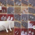 Trendy 925 Sterling Silver Plated Crystal Drop/Dangle Silver Hoop Earrings