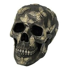 """6.75"""" Length Human Skull with Butterfly Tattoo Fantasy Figurine Halloween Gift"""
