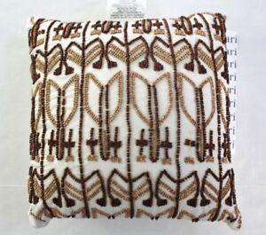 Image Is Loading Nate Berkus Decorative Beaded Throw Pillow White Brown