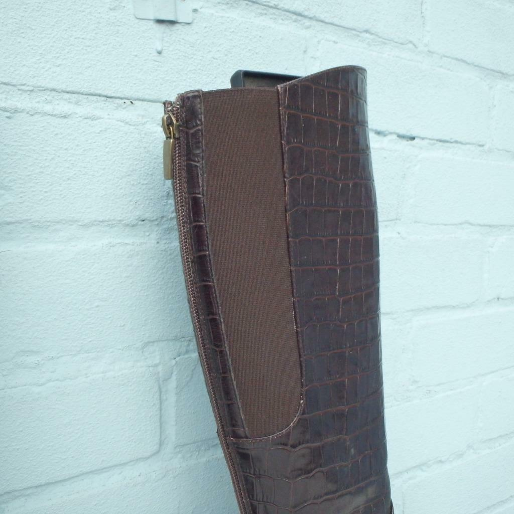 Hobbs Hobbs Hobbs Leather Boots Size Uk 5 Eur 38 Sexy Womens Elasticated Croc Brown Boots b72afb