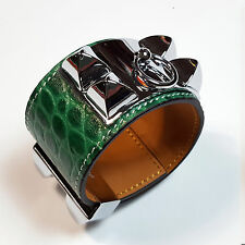 GREEN SILVER Croc collier De Chien Bracelet Genuine Cows leather Cuff Bangle HK