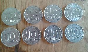 Use-Lot-De-8-Pieces-de-Monnaie-10-Ctmos-Franco-1959-Item-Pour-Colecctors