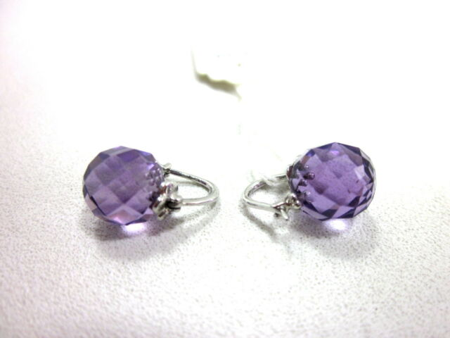 Curated Collection 10k White Gold Beads Amethyst Earrings 9x9mm New