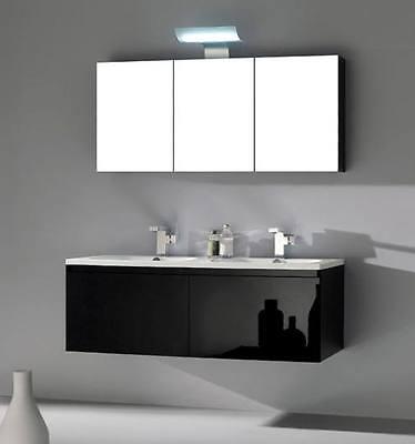 Mobile Bagno per Arredo moderno da 120 con doppio lavabo e specchio contenitore