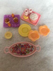 1994-Fisher-Price-Amante-Famiglia-Casa-Delle-Bambole-Cucina-Rosa-Cibo-Vassoio