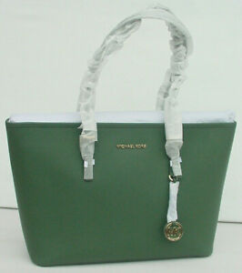 NWT-Michael-Kors-Jet-Set-Travel-Tote-Medium-Saffiano-Leather-Top-Zip-Moss-Green