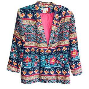 Carol-Horn-Vintage-90-s-Whimsical-Floral-Print-Silk-Blazer-Jacket-Women-s-Small