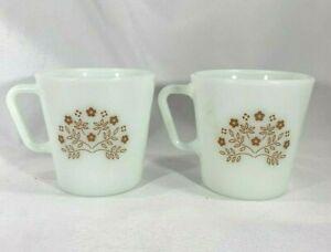 Set Of 2 Pyrex Summer Impressions Mug brown flower D Handle coffee tea cup
