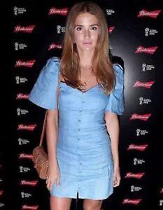 más cerca de precio baratas materiales de alta calidad Details about Zara Blue Linen Dress With Puff Sleeves Size L U.K. 12