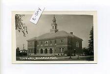 Billerica MA Mass RPPC real photo Town Hall, Old Car, antique postcard
