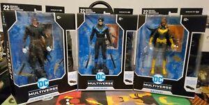 McFarlane DC Multiverse Batman Who Laughs Batgirl Nightwing Set 3 Baf Batmobile