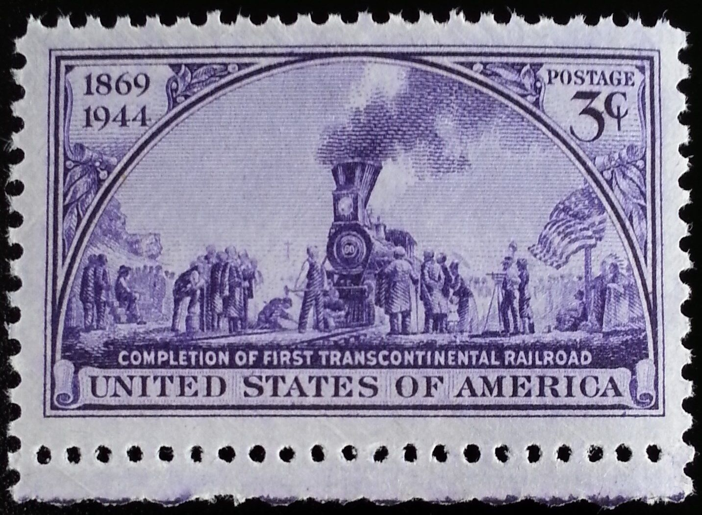 1944 3c First Transcontinental Railroad, 75th Anniversa