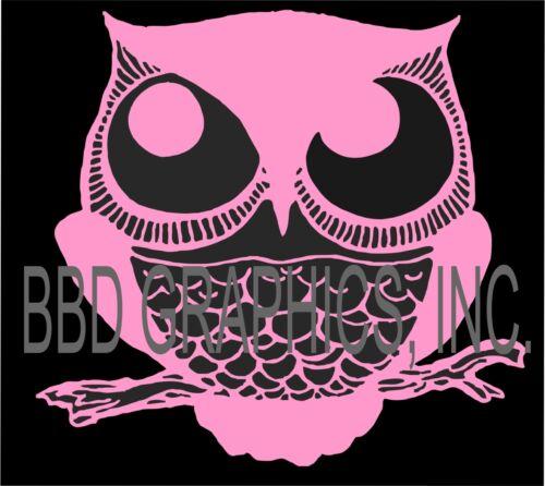 Sleepy Howl Owl Bubblegum Pink Vinyl Car Window Sticker Bumper Computer