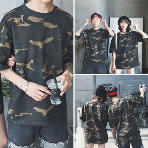 Women Men Casual Camouflage Loose Tops Half Sleeve Round Neck T-Shirt Tee Shirt