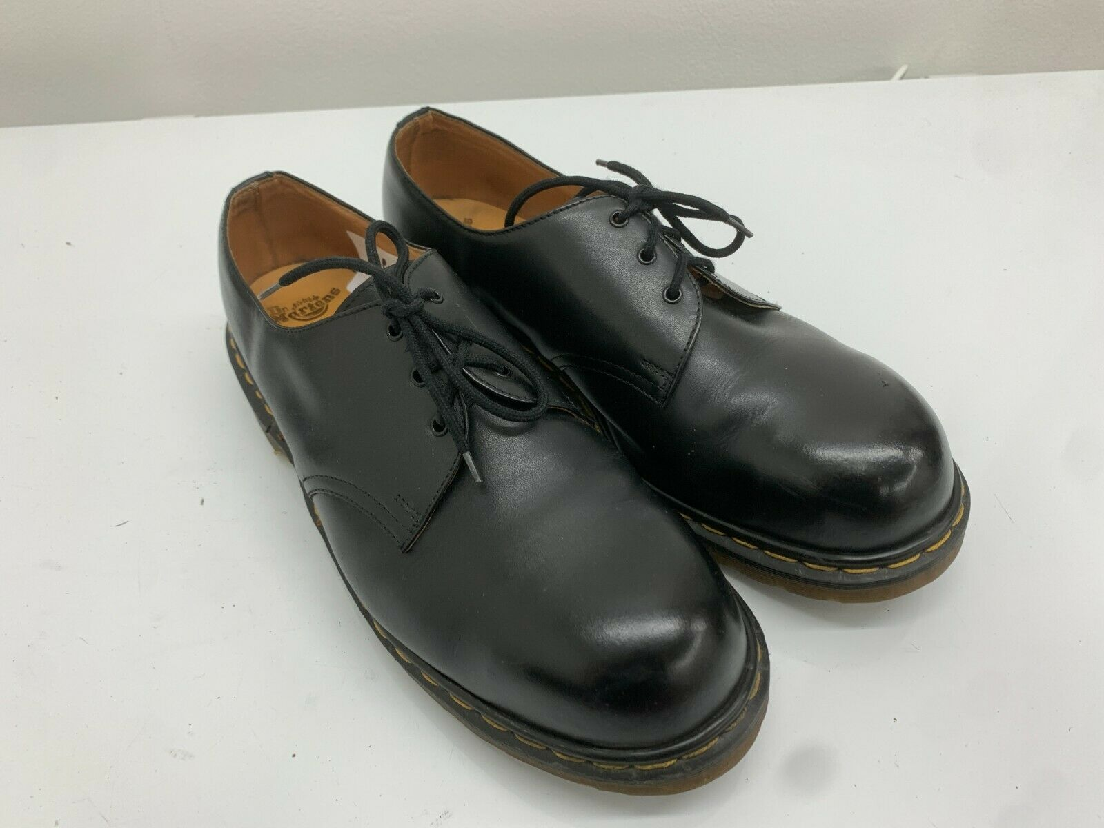 Doc Dr Martens Shoes, 3 Eyelets, Black Shiny Leather, Size 11UK, Rare Steel Toe