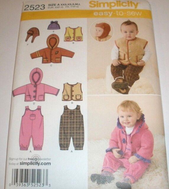 Infant Babies Sewing Pattern Overall Jacket Vest Hats Sz Xxs L