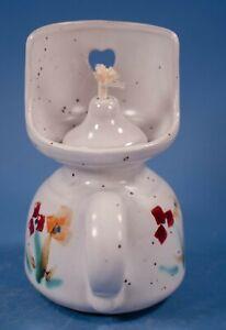 Studio Art Pottery Oil Lamp Flowers Signed