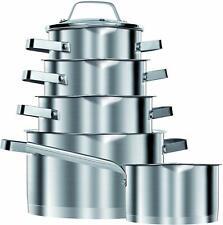 Bateria de cocina inducción acero inoxidable 10 piezas tapas cristal Smile MGK11