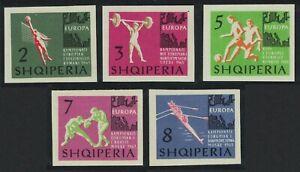ALBANIA 1963 MNH 5v Imperf, Sports, European Championship, Soccer, Volley Ball