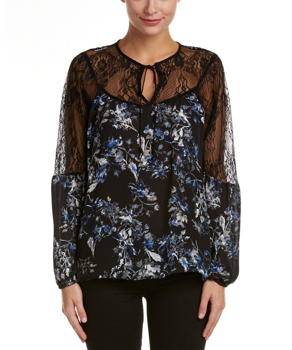 NWT PARKER damen SzM LACE YOKE LONG SLEEVE PLEASANT BLOUSE PRINT MYRTLE