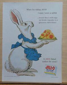 1954 magazine ad for Jell-O - I Wish I Were A Rabbit, white rabbit serves Jell-O