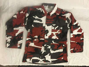 NWOT-039-s-Military-Style-BDU-Woodland-Red-Camouflage-Jacket-Top-Large-Regular
