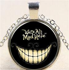 Vintage Black Alice Cabochon Tibetan silver Glass Chain Pendant Necklace MG31