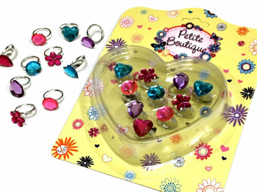10 x PRINCESS RINGS JEWEL SPARKLE GIRLS TOY GIFT FAVOR BIRTHDAY PARTY BAG FILLER
